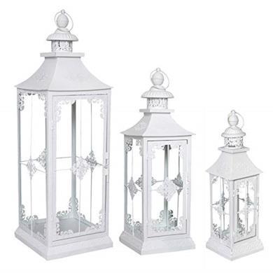 Set di 3 lanterne in stile shabby chic