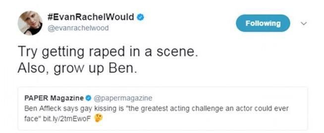 Uno dei tweet di Evan Rachel Wood contro Ben Affleck