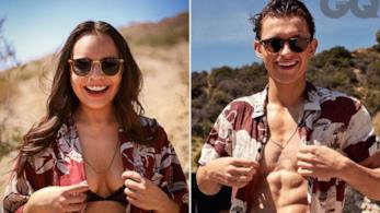 Tori Bernal e Tom Holland in due pose simili