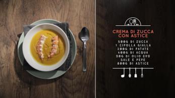 Gli ingredienti per una crema di zucca con astice