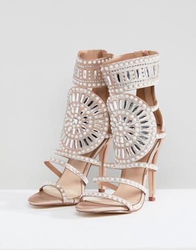Sandali rosa oro in raso decorato con tacco