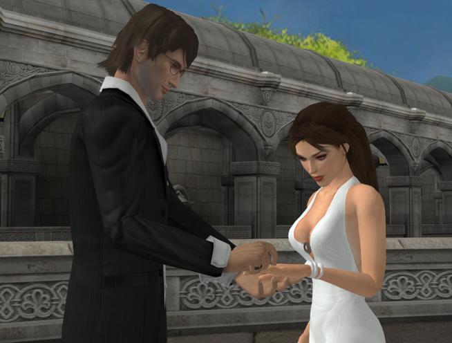 Lara Croft al proprio matromonio in un'immagine creata da un fan