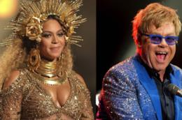 I due cantanti Beyoncé ed Elton John