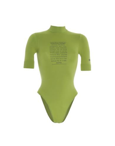 Body Moschino verde acido con collo alto