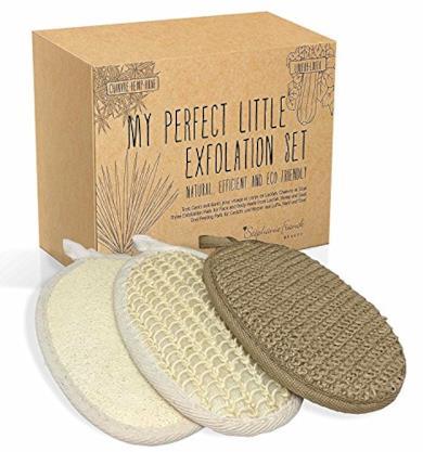 Set Esfoliante 3 Guanti per Peeling Corpo e Viso realizzati in spugna Loofah, Fibre di Canapa e Sisal - Esfoliante e Purificante
