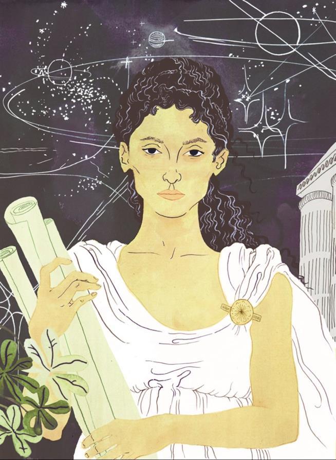 Versione illustrata di Ipazia ne libro illustrato Storie della buonanotte per bambine ribelli