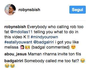 Il commento di Rihanna