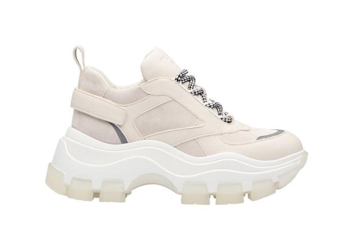 Chunky Sneakers in pelle crema con logo in rilievo sulla linguetta e lacci bicolore
