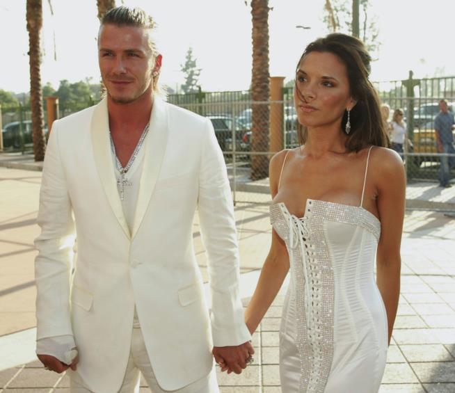 David Beckham e Victoria in bianco