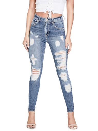 Jeans skinny con strappi frontali