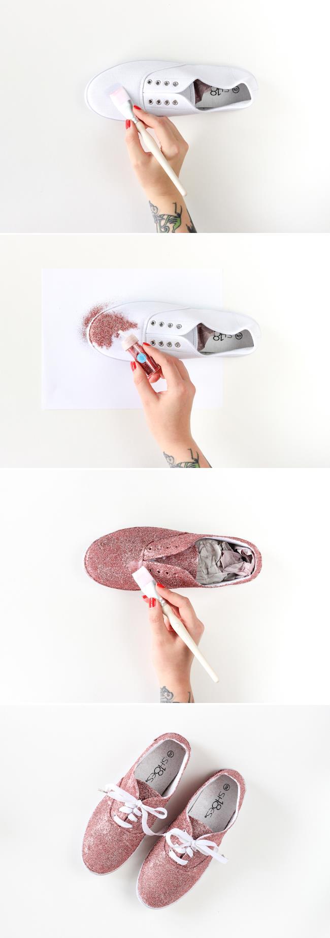 I vari step per applicare i glitter sulle scarpe