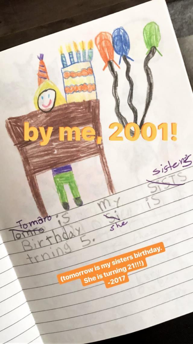 Il disegno di Gigi Hadid per Bella fatto anni fa