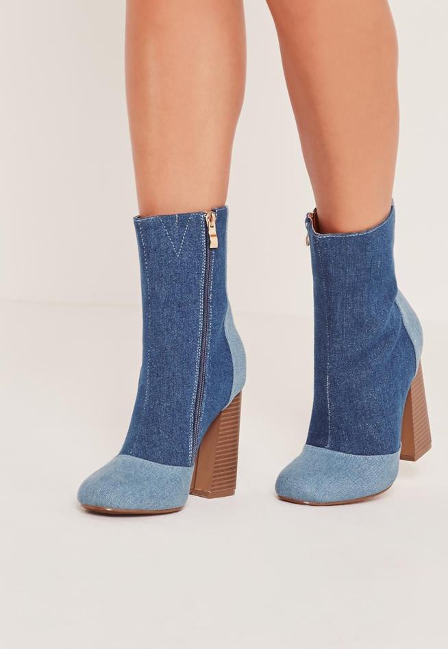 Stivaletti in tessuto jeans alla caviglia
