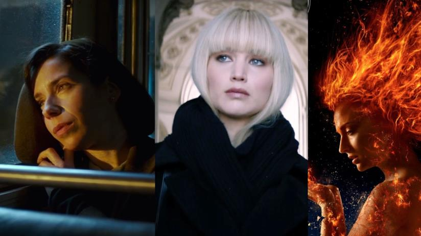 Sally Hawkins in La forma dell'acqua, Jennifer Lawrence in Red Sparrow e Sophie Turner Dark Phoenix