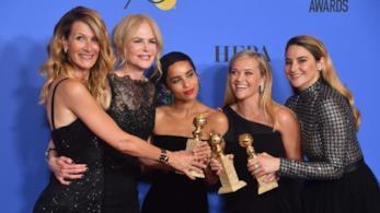 Le attrici protagoniste di Big Little Lies con i Golden Globes vinti alla 75ma edizione dei premi