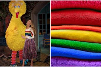 Collage tra Blake Lively e look arcobaleno