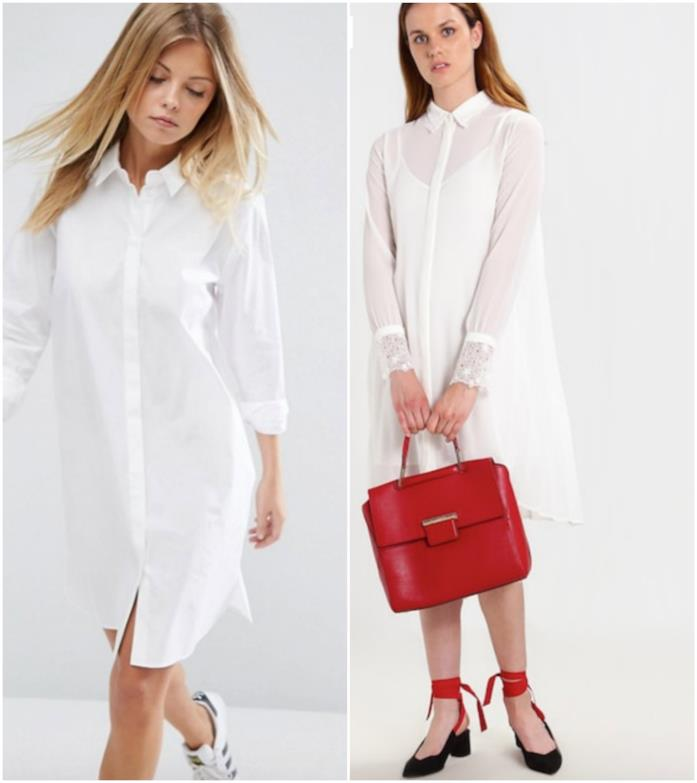 Collage di abiti camicia bianchi
