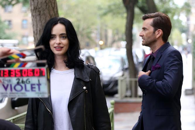 Krysten Ritter e David Tennant durante le riprese di Kessica Jones 2