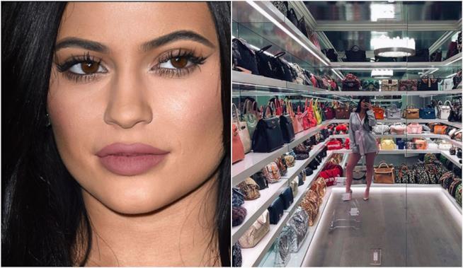 Kylie Jenner in primo piano con le sue borse