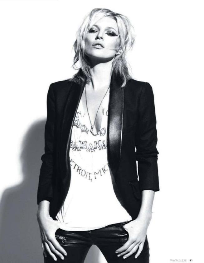 Kate Moss in look chic-rock