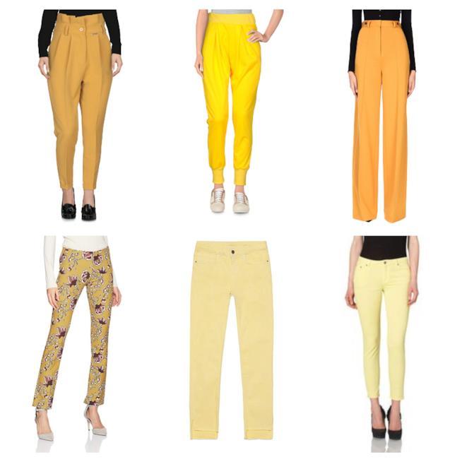 Giallo, must have sui pantaloni di moda per l'autunno 2018