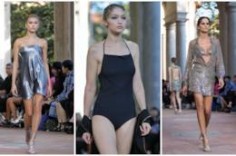 Collage di modelle nella sfilata Alberta Ferretti