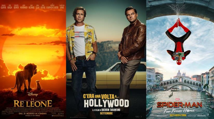 I poster diIl re leone, C'era una volta a... Hollywood e Spider-man Fra From Home