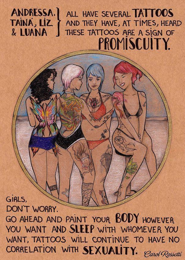 Illustrazione di un gruppo di ragazze tatuate
