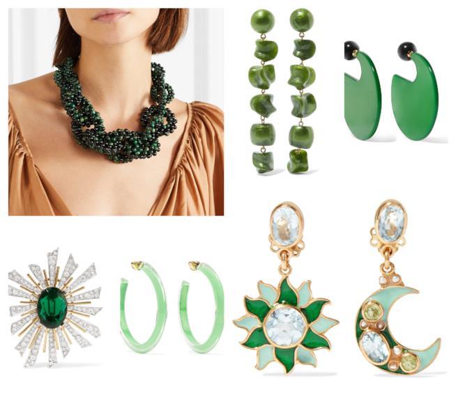 Verde per i gioielli di tendenza autunno inverno 2018-19
