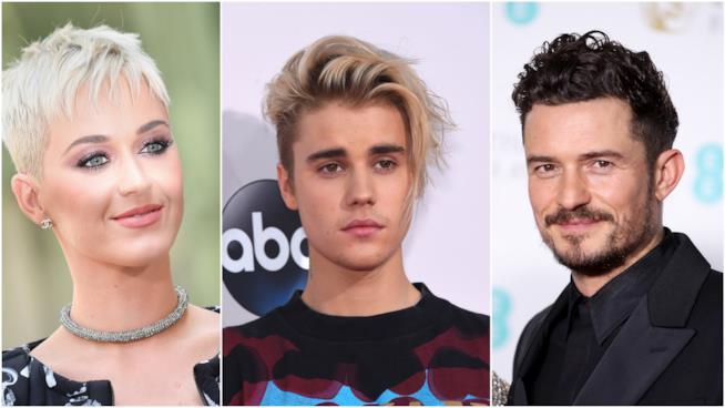 Katy Perry, Justin Bieber e Orlando Bloom