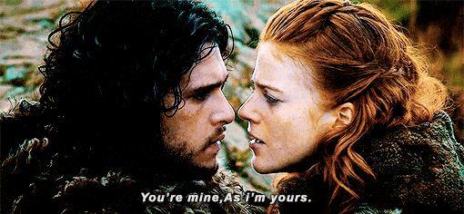 Ygritte e Jon mentre si dichiarano amore