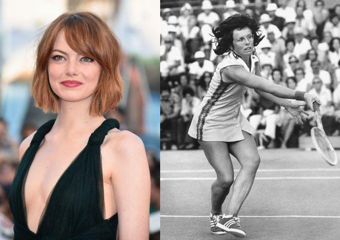 Due foto a confronto dell'attrice Emma Stone e la tennista BIllie Jean King
