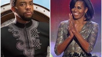 Michelle Obama e Chadwick Boseman di Black Panther