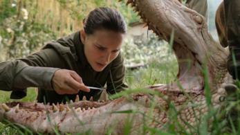 Natalie Portman esamina uno strano alligatore in Annihilation