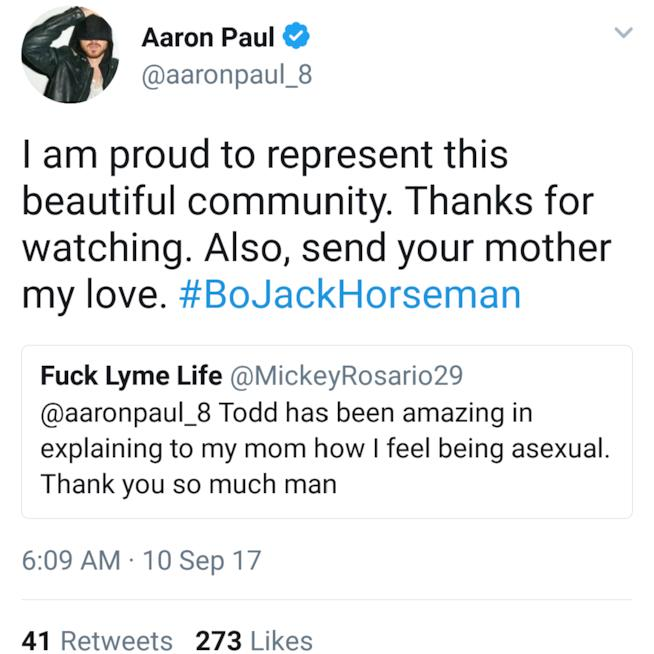 Uno screenshot di un tweet dell'attore Aaron Paul