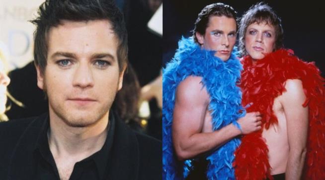 Ewan McGregor e Christian Bale, attori rock per Velvet Goldmine di Todd Haynes indossano trucco glam