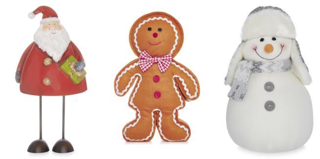 Pupazzi a forma di babbo natale, gingerbread man e pupazzo di neve