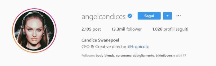 Profilo Instagram Candice Swanepoel