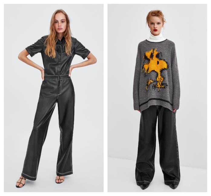 In pelle e similpelle i pantaloni di Zara autunno 2018
