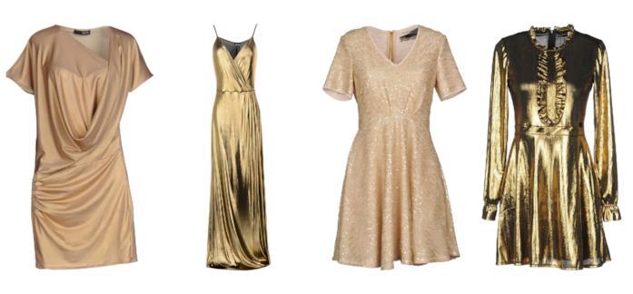 Mini e maxi abiti oro di tendenza per l'estate 2018