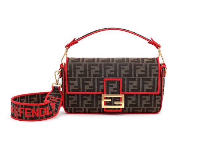 Borsa Fendi Roma Amor in tessuto con dettagli in rosso