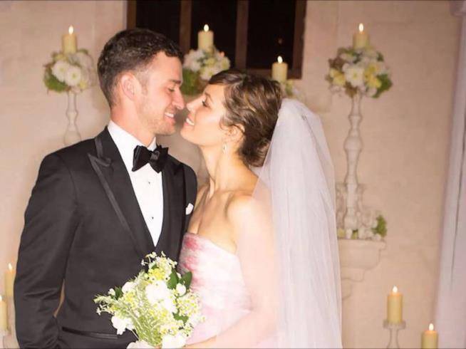 Justin Timberlake e Jessica Biel nel giorno del loro matrimonio