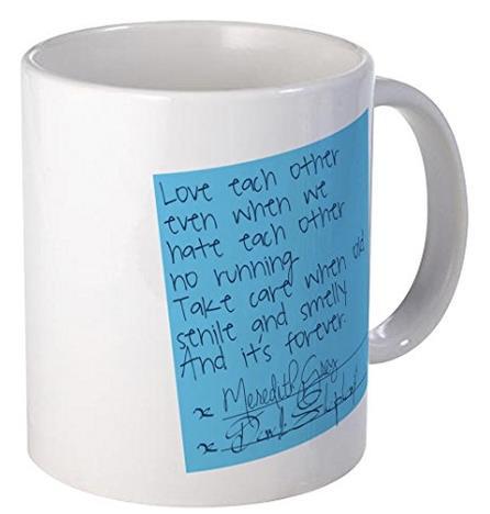 La tazza con il post-it di Grey's Anatomy