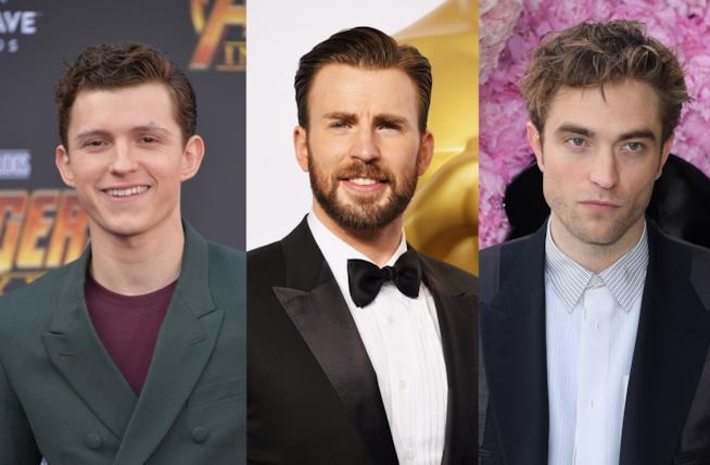 Gli attori Tom Holland, Chris Evans e Robert Pattinson