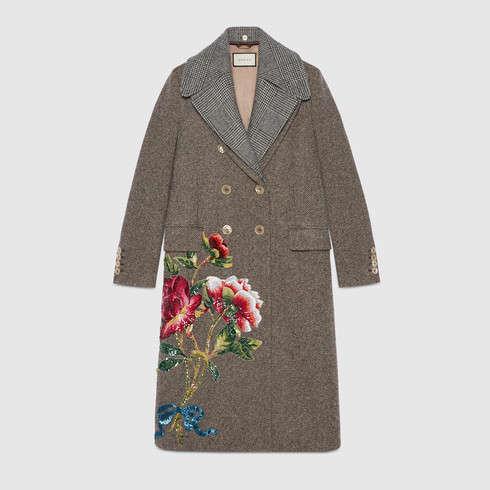 Cappotto autunno inverno 2017 2018 con ricami Gucci