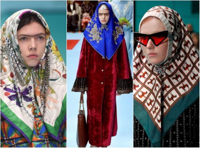 Collage di veli nella sfilata di Gucci alla MFW