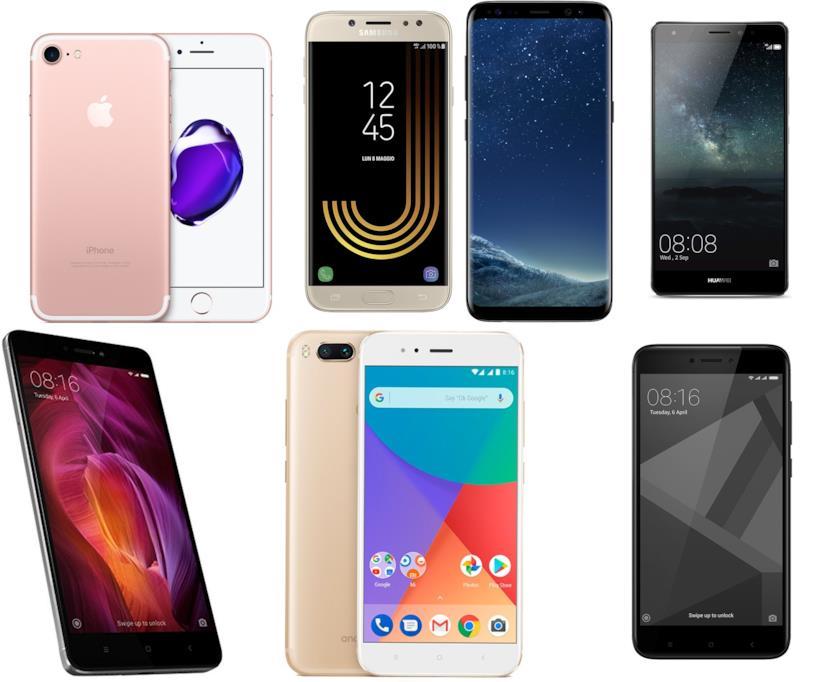 Smartphone Apple,Samsung, Huawei e Xiaomi
