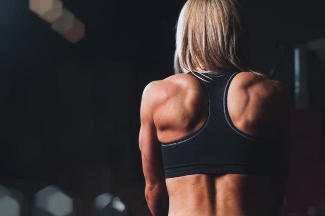 Donna che allena e tonifica le braccia
