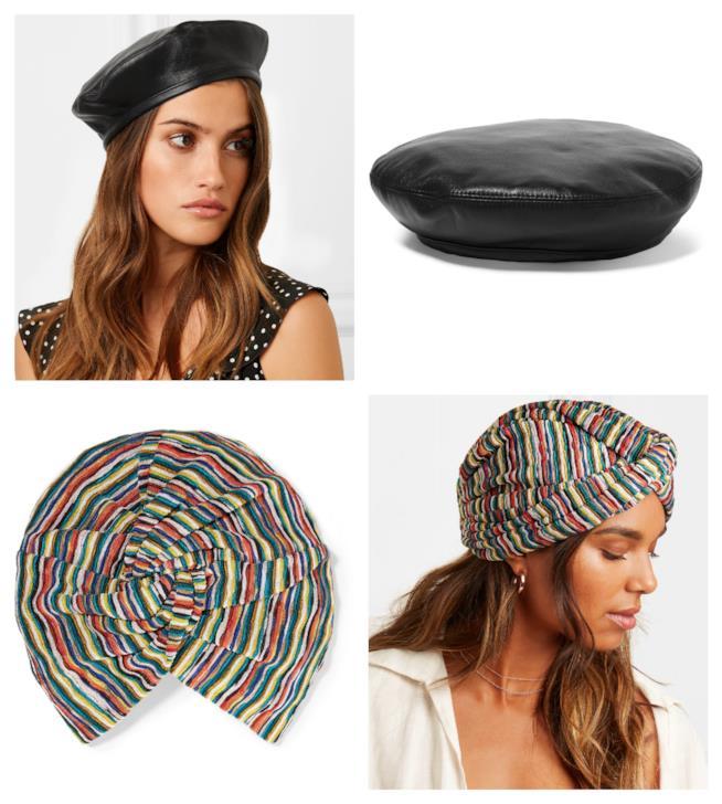 I cappelli di moda per l'autunno 2018 multicolore e in pelle