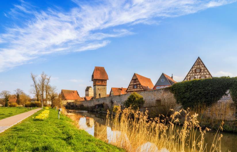 La città medievale di Dinkelsbühl in Baviera, Germania